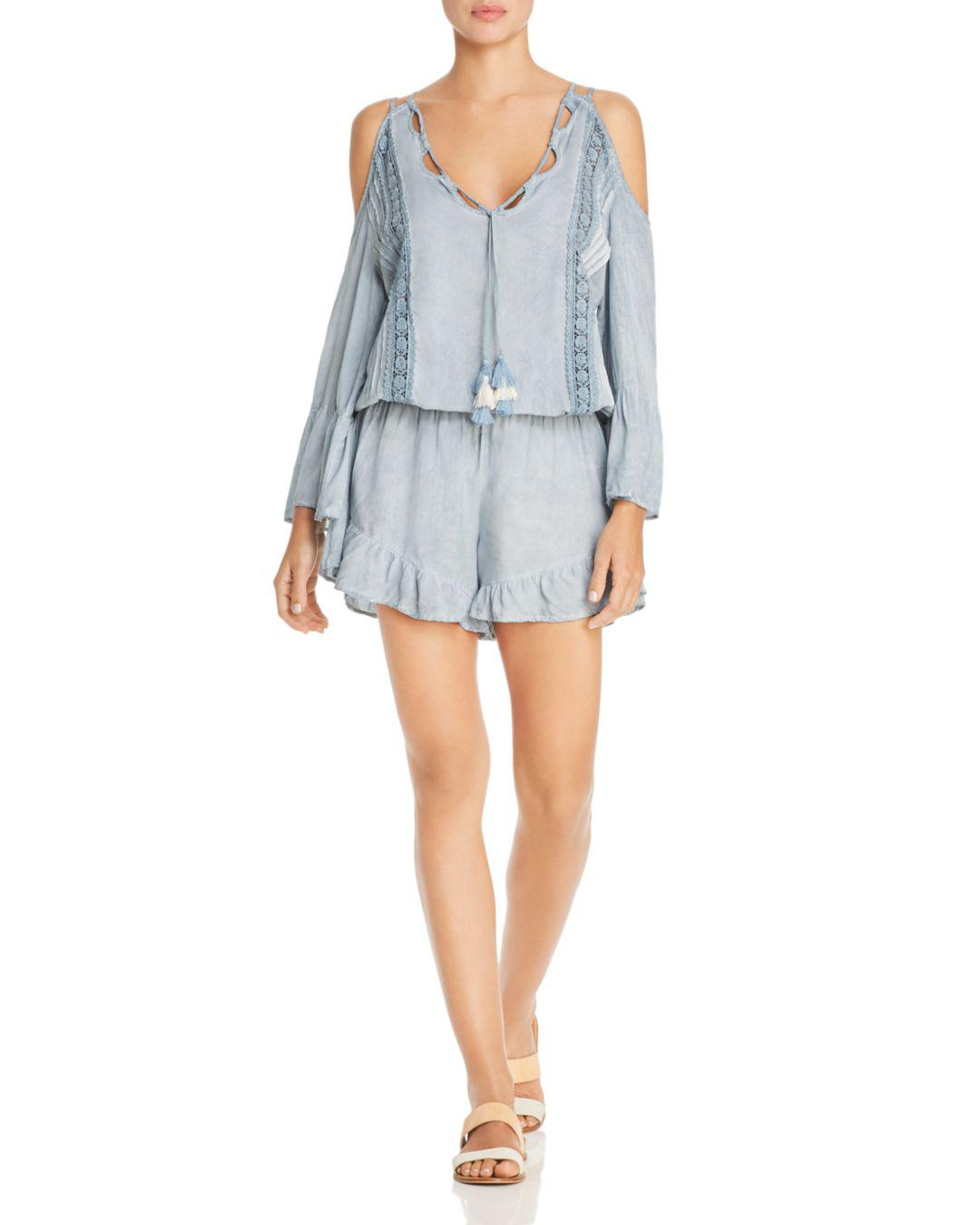 7189a9f6f8 Surf Gypsy. Women's Blue Washed Denim & Crochet Lace Pleated Romper Swim  Cover-up