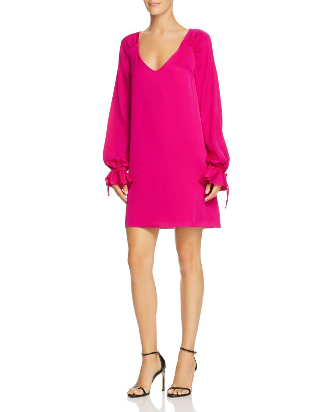 16f99e1ac27 MILLY Dana Poet-sleeve Dress in Pink - Lyst