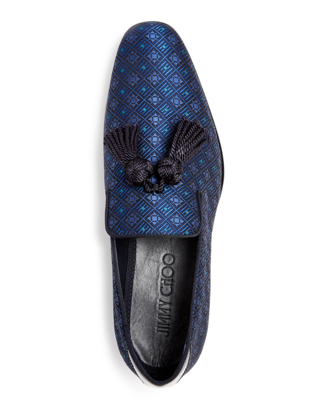 431c2b061de Lyst - Jimmy Choo Men s Foxley Jacquard Smoking Slippers in Blue for Men