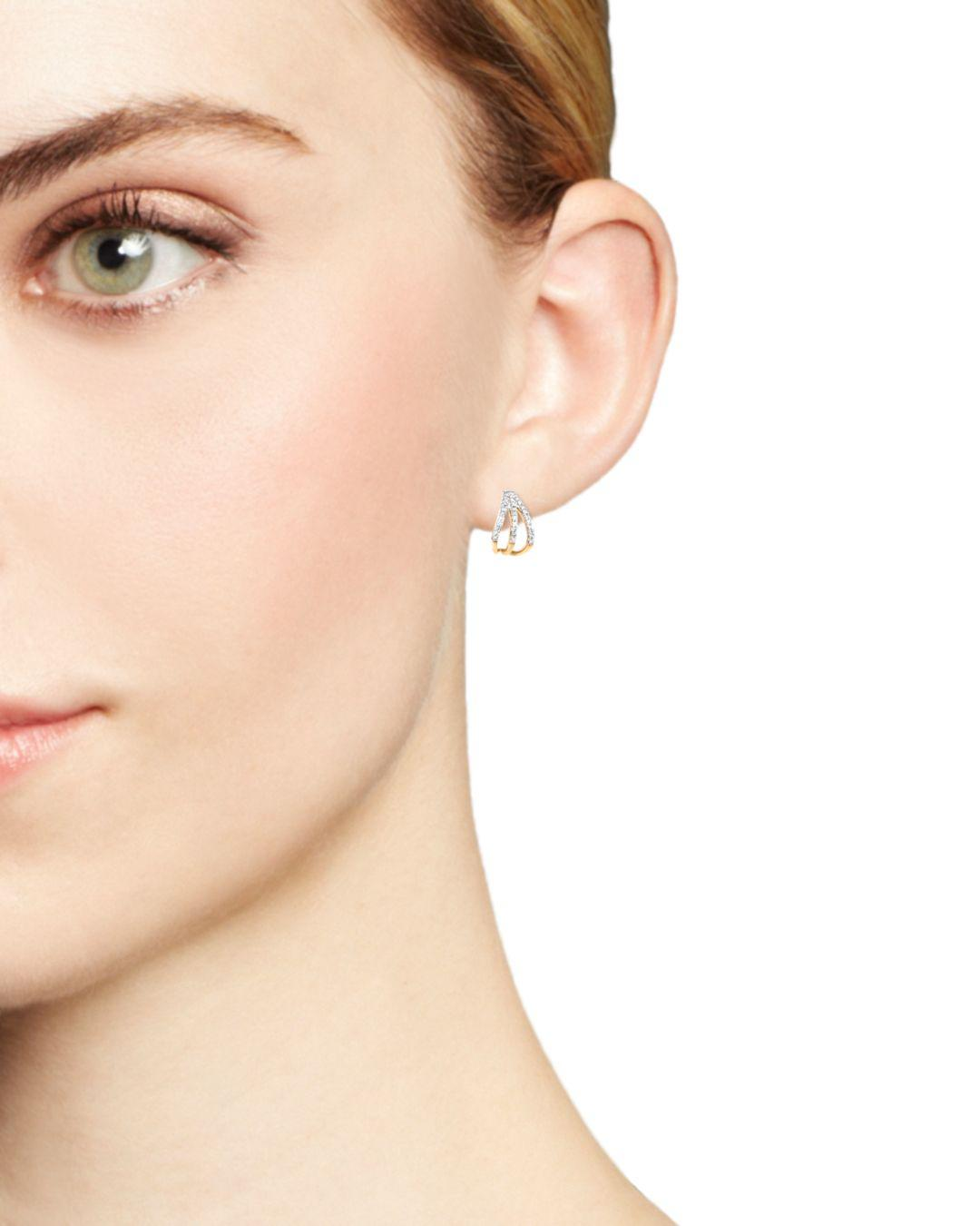 03352ebff Adina Reyter - Metallic 14k Yellow Gold Pavé Diamond Triple Huggie Hoop  Earrings - Lyst. View fullscreen