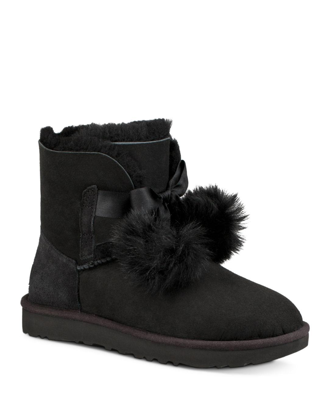 7878f4285a4dd Lyst - UGG Women s Gita Sheepskin   Fur Pom-pom Booties in Black ...