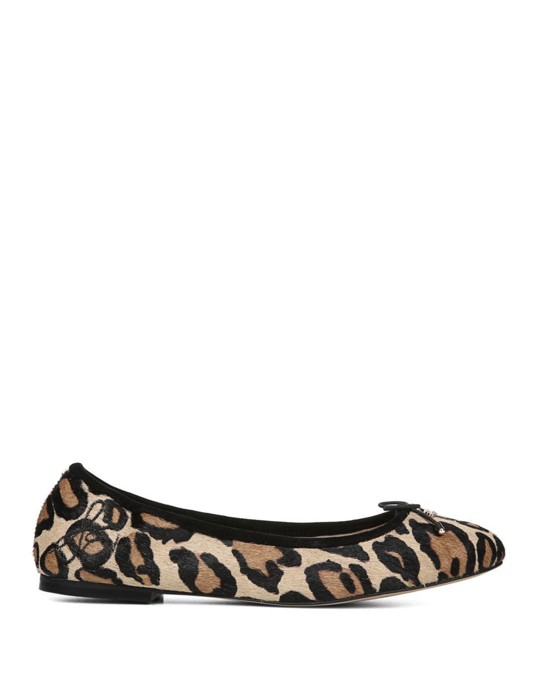 4ef5c8fe7a3d9c Lyst - Sam Edelman Women s Felicia Round Toe Leopard-print Calf Hair Ballet  Flats