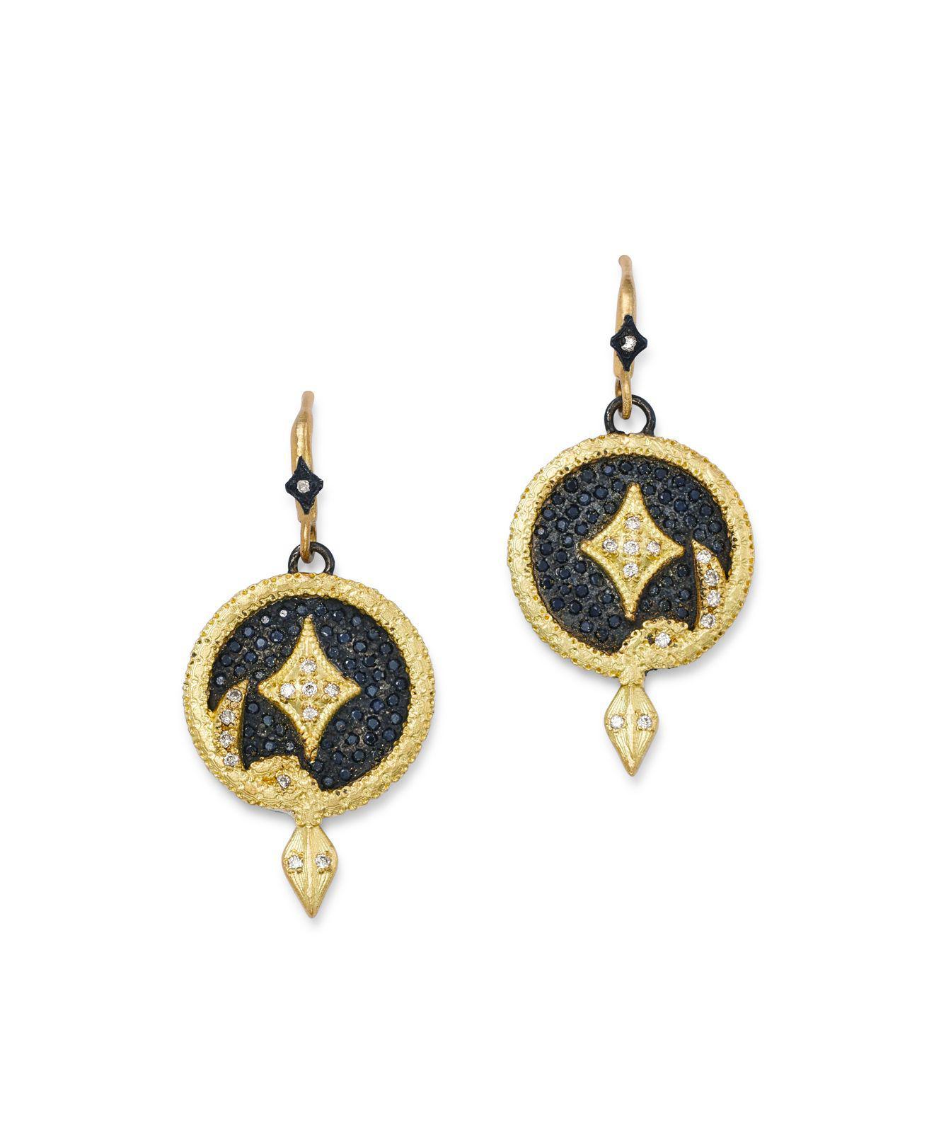 Armenta Midnight Silver & 18k Gold Open-Drop Earrings Fuidn