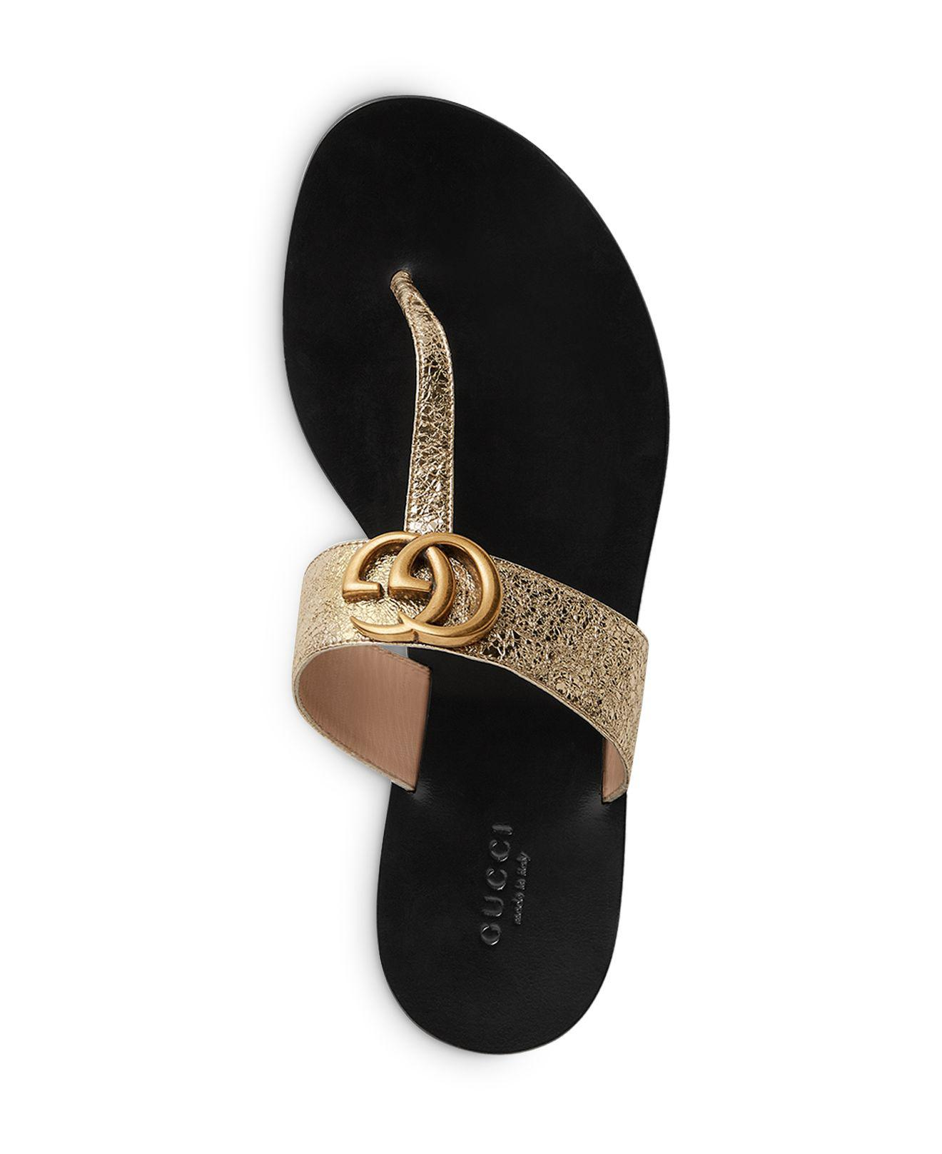 ac40d0f6a9b22a Lyst - Gucci Women s Marmont Leather Thong Sandals
