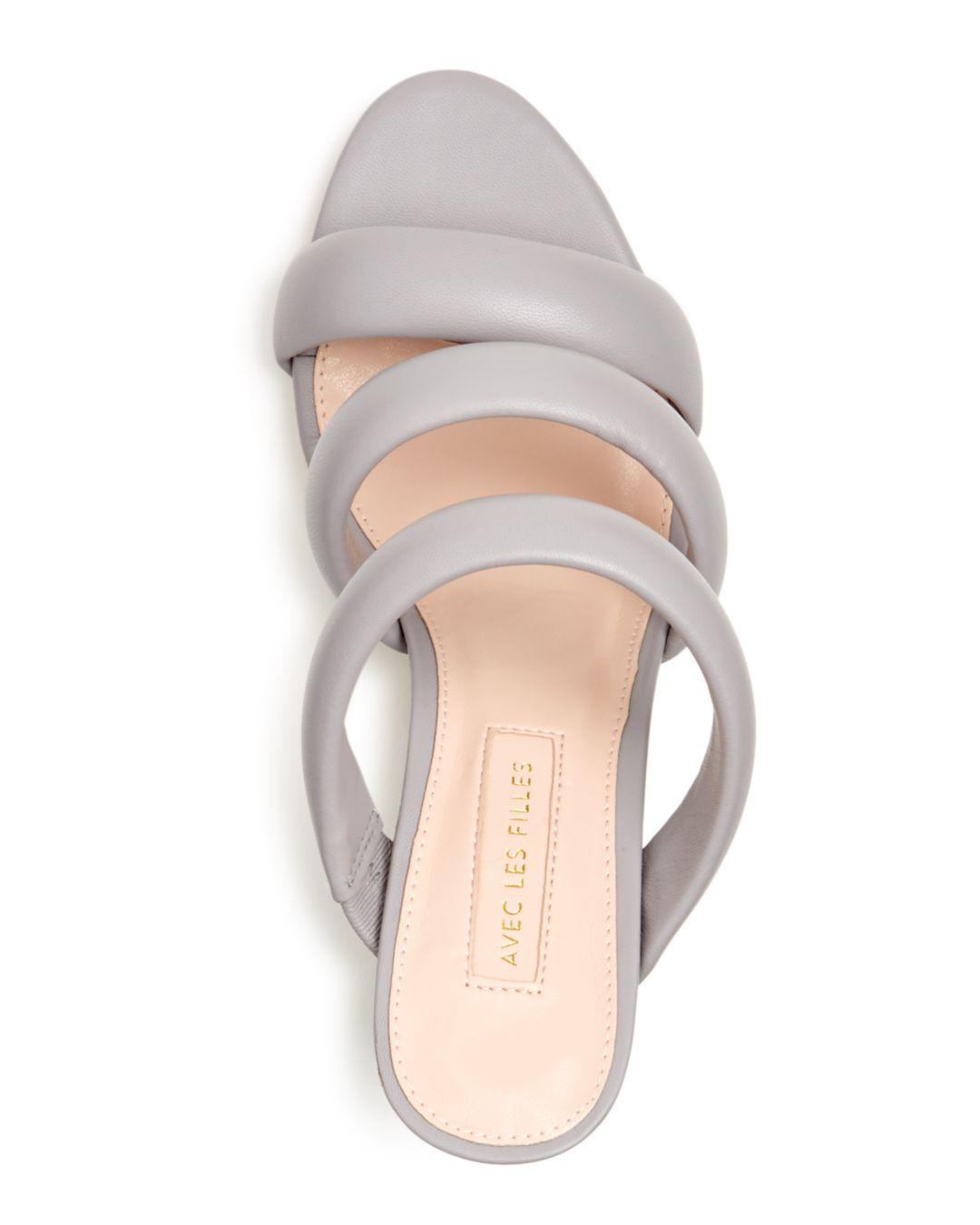 Avec Les Filles Women's Mara Leather High heel Slide Sandals
