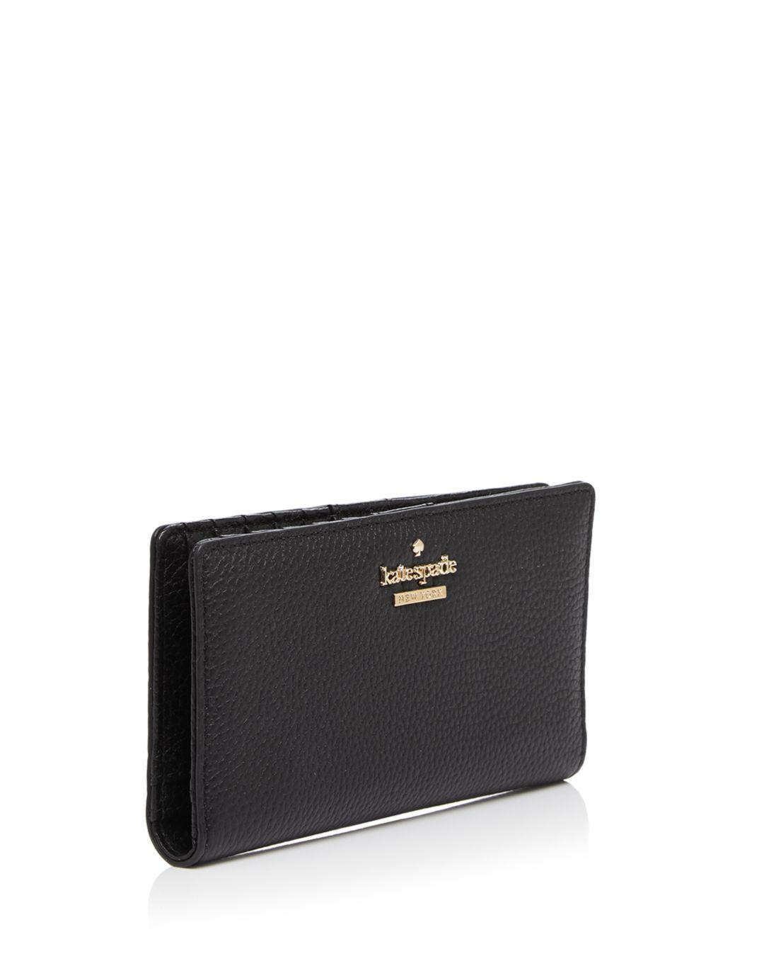 ce31868abb36 Kate Spade - Black Jackson Street Stacy Pebbled Leather Continental Wallet  - Lyst