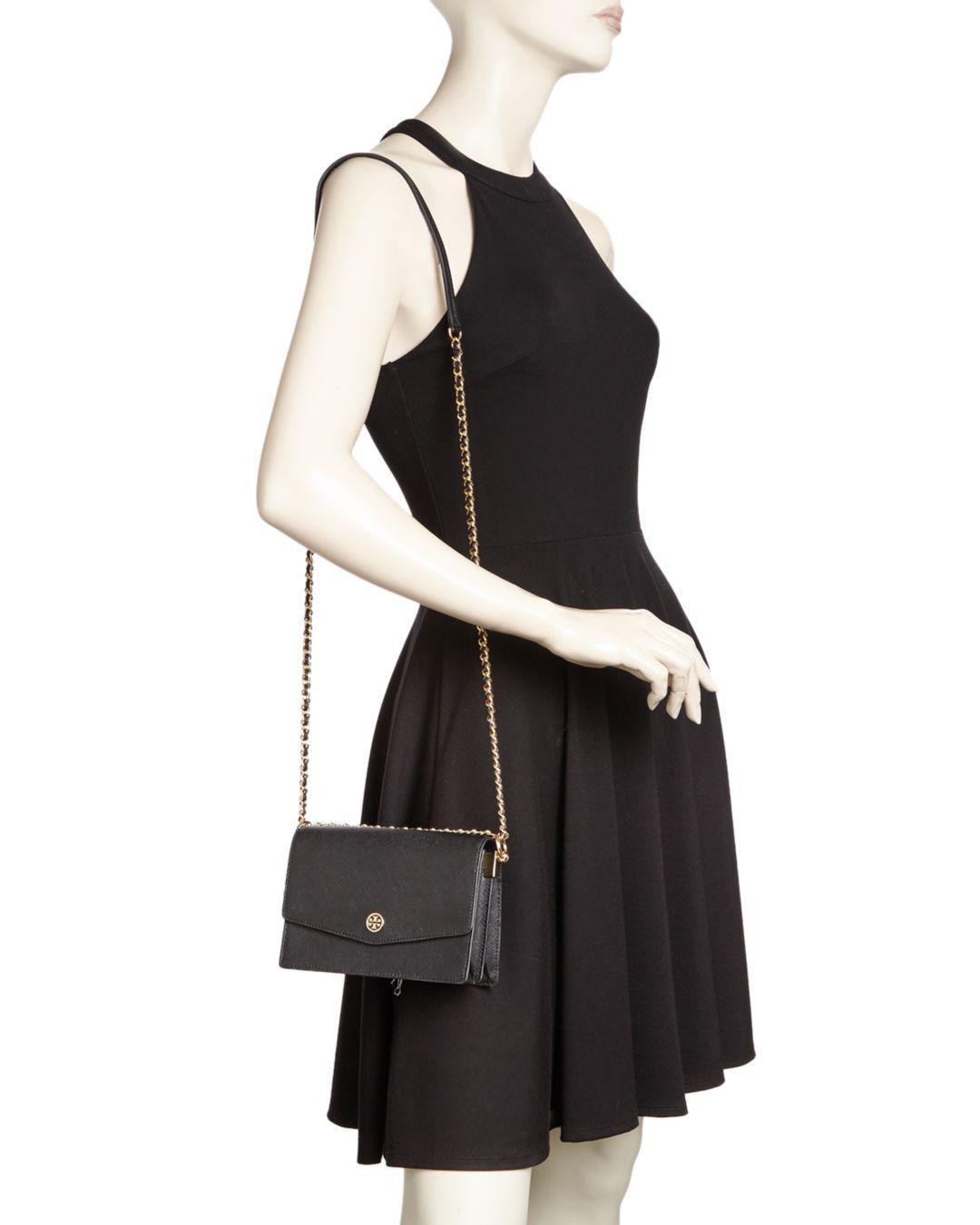 c650d71c9df1 Tory Burch Robinson Mini Leather Convertible Shoulder Bag in Black - Lyst