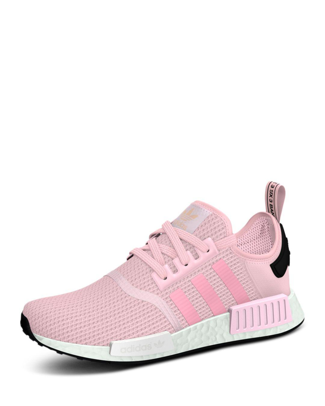 8e8e55fc3ddd Lyst - adidas Women s Nmd R1 Knit Lace Up Sneakers in Pink