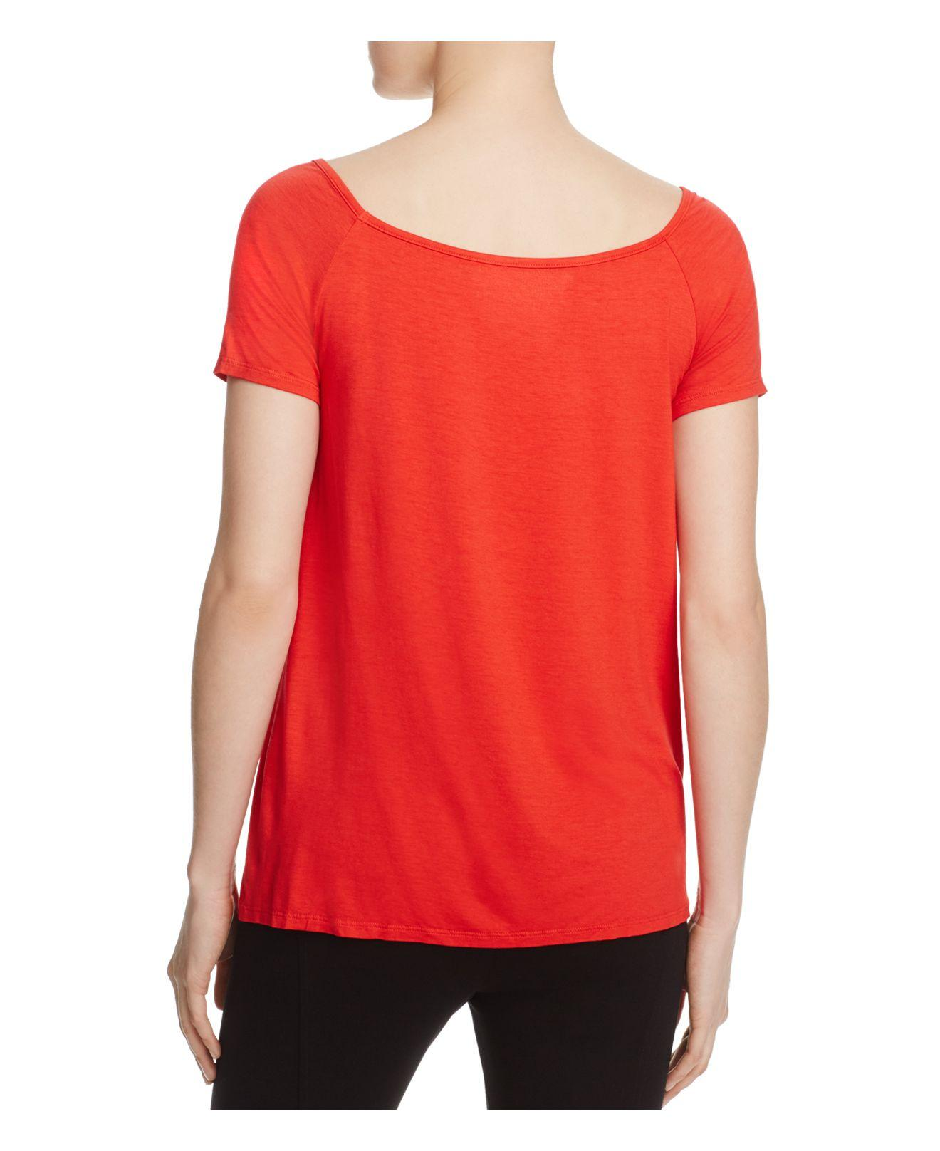 Three dots v neck swing tee in red lyst for Three dots t shirts