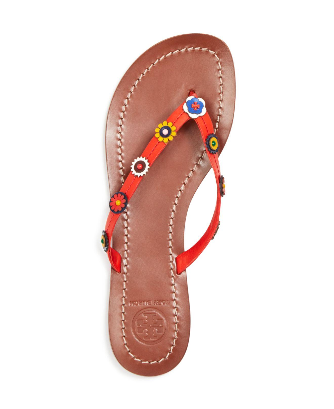 97596a824 Tory Burch Marguerite Terra Leather Thong Sandals in Red - Lyst