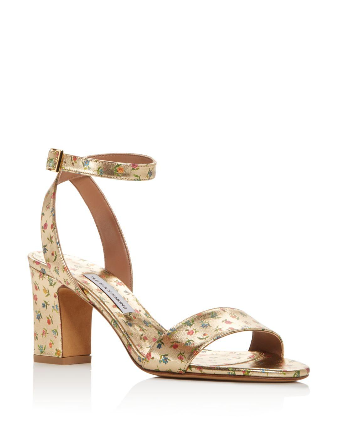 f2a46990866 Tabitha Simmons. Metallic Women s Leticia Ankle Strap Block-heel Sandals