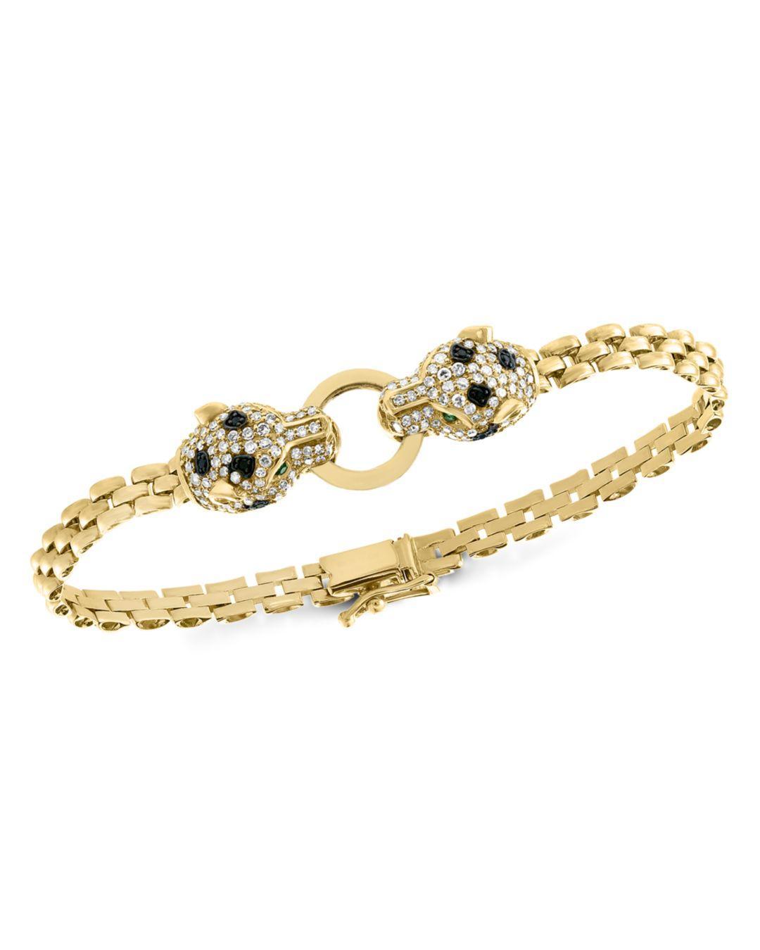 c3bb06fb8 Bloomingdale's. Women's Metallic Black & White Diamond Panther Bracelet In  14k Yellow Gold