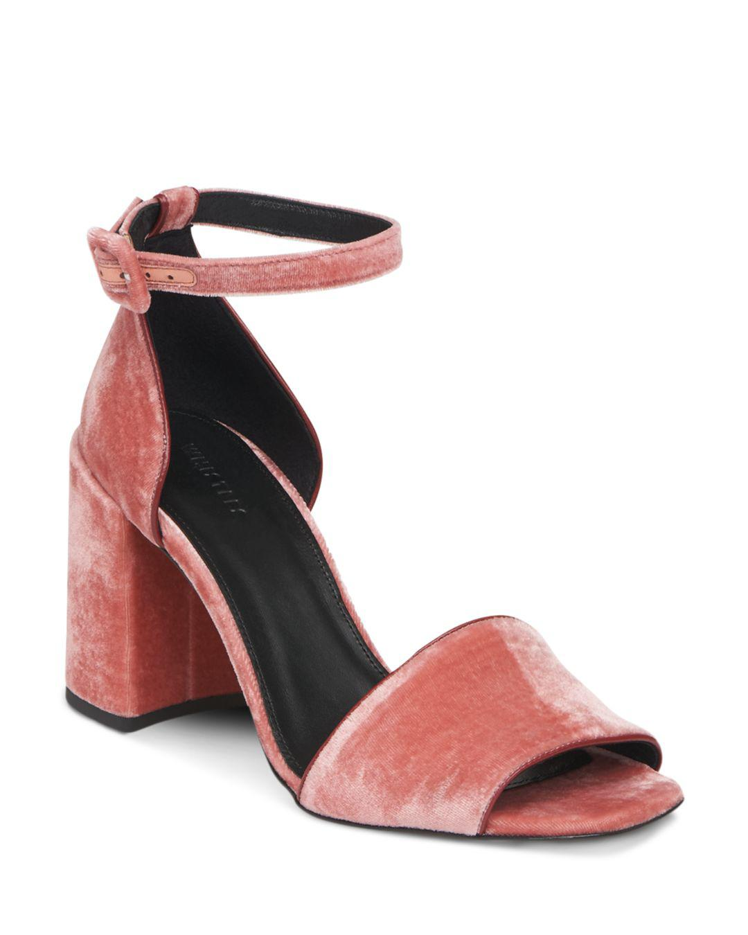 0d611ba807e Whistles Women s Hedda Velvet Block Heel Sandals in Pink - Lyst