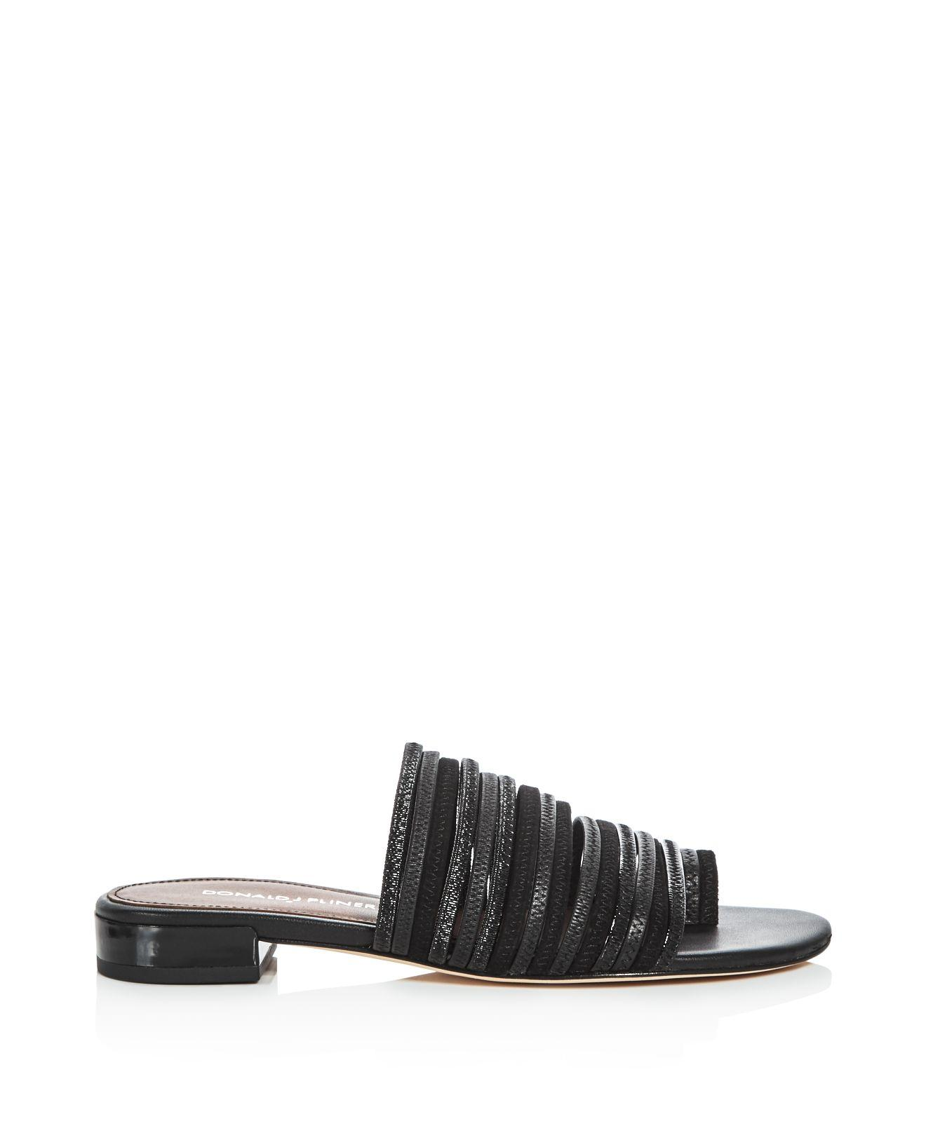 Lyst Donald J Pliner Frea Strappy Slide Sandals In Black