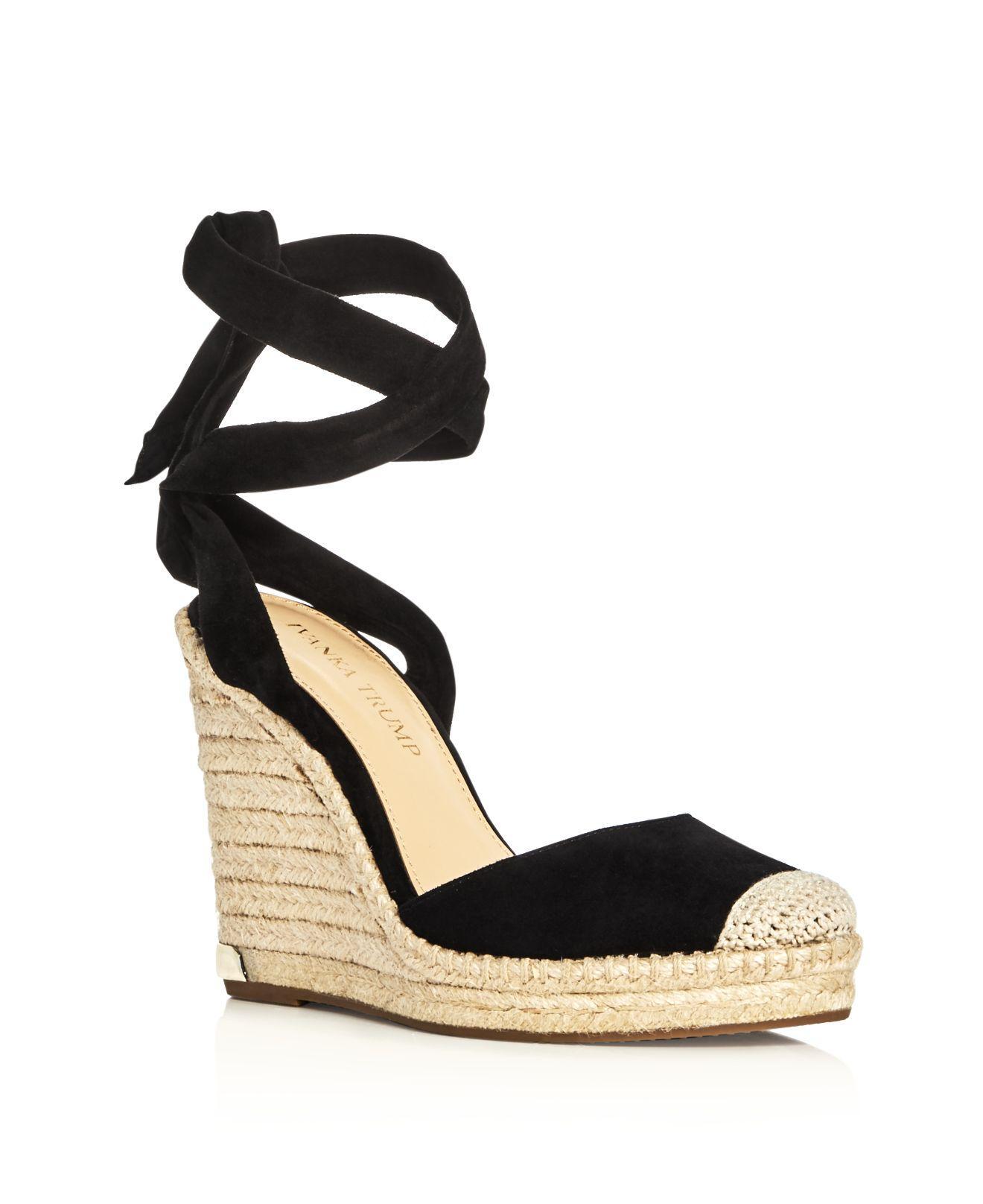 24fa1bb4c694 Lyst Ivanka Trump Winikka Ankle Tie Espadrille Wedge Sandals In Black