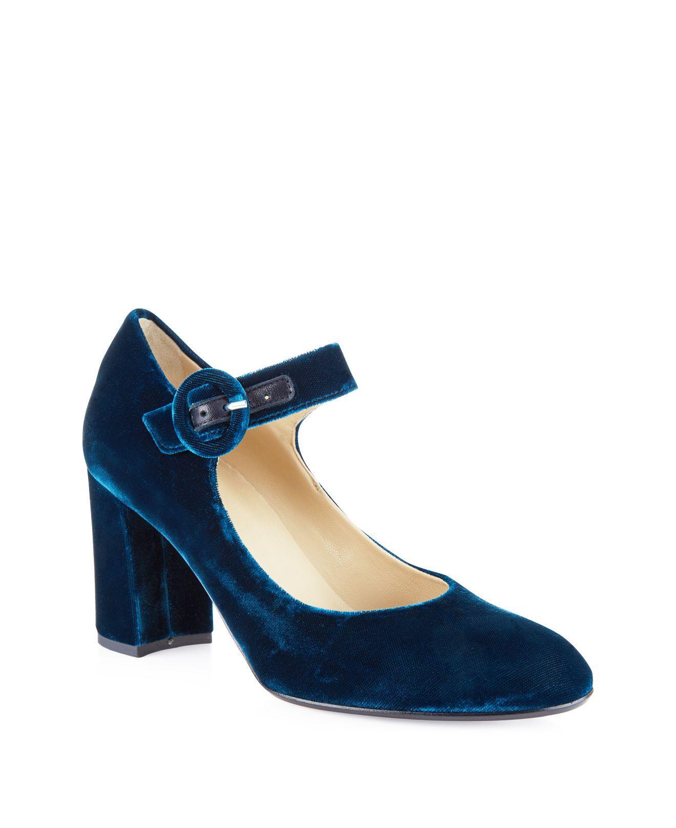 afb50624 Hobbs Aurora Velvet Mary Jane Block Heel Pumps in Natural - Lyst