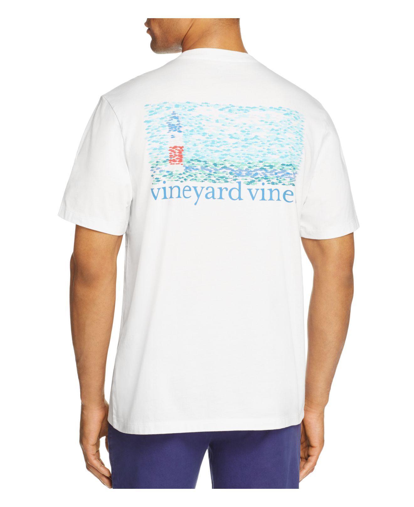 Vineyard vines lighthouse fish pocket tee in white for men for Vineyard vines fishing shirt