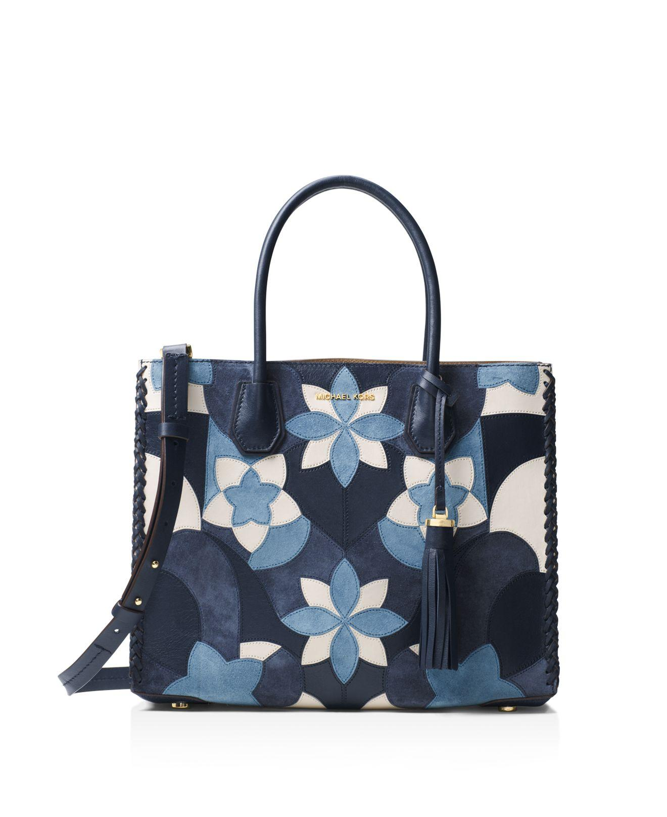 Michael Michael Kors Studio Mercer Floral Patchwork Convertible Large Leather Tote In Blue | Lyst