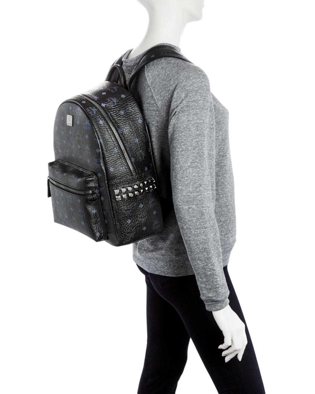 88ecbc616fd Lyst - MCM Visetos Small medium Stark Studded Backpack in Black