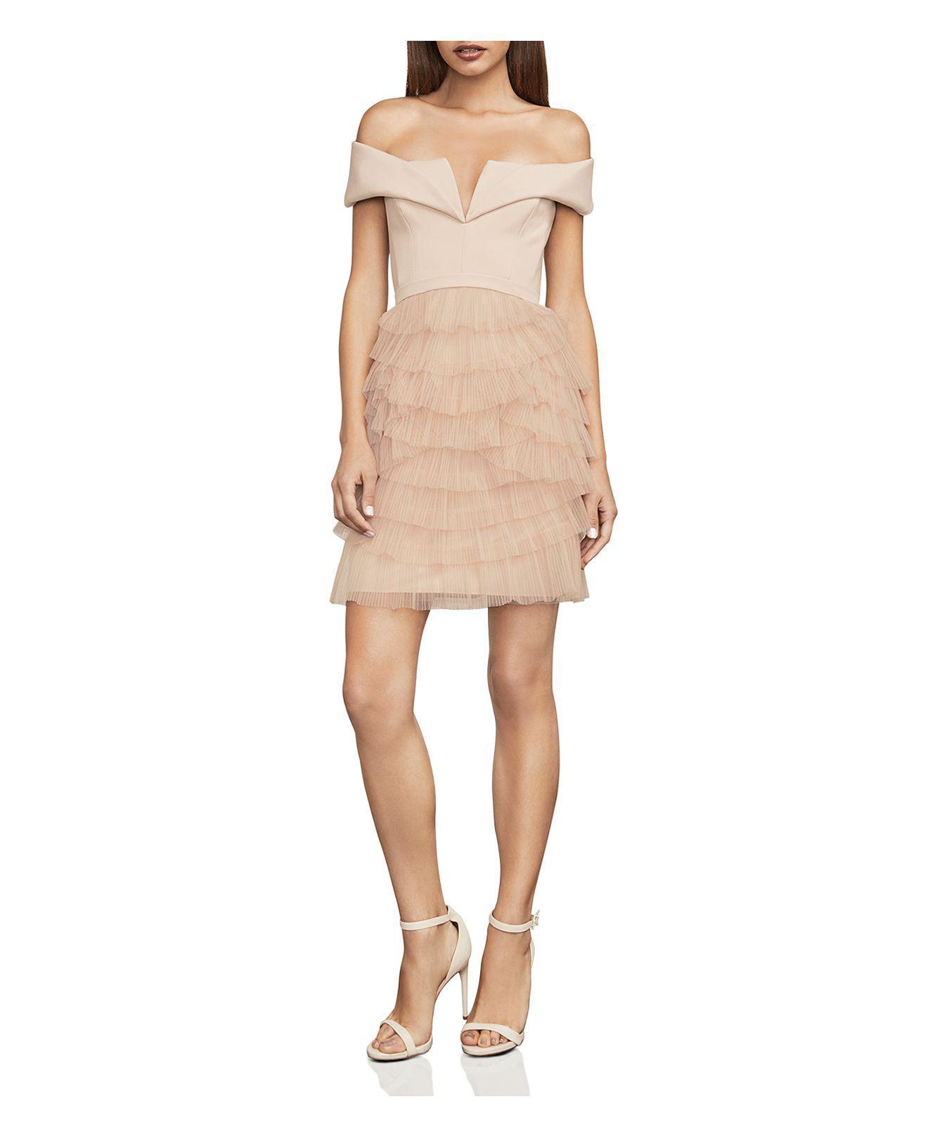 9b8cf1badbb8 Lyst - BCBGMAXAZRIA Marquise Ruffled Off-the-shoulder Dress in Pink