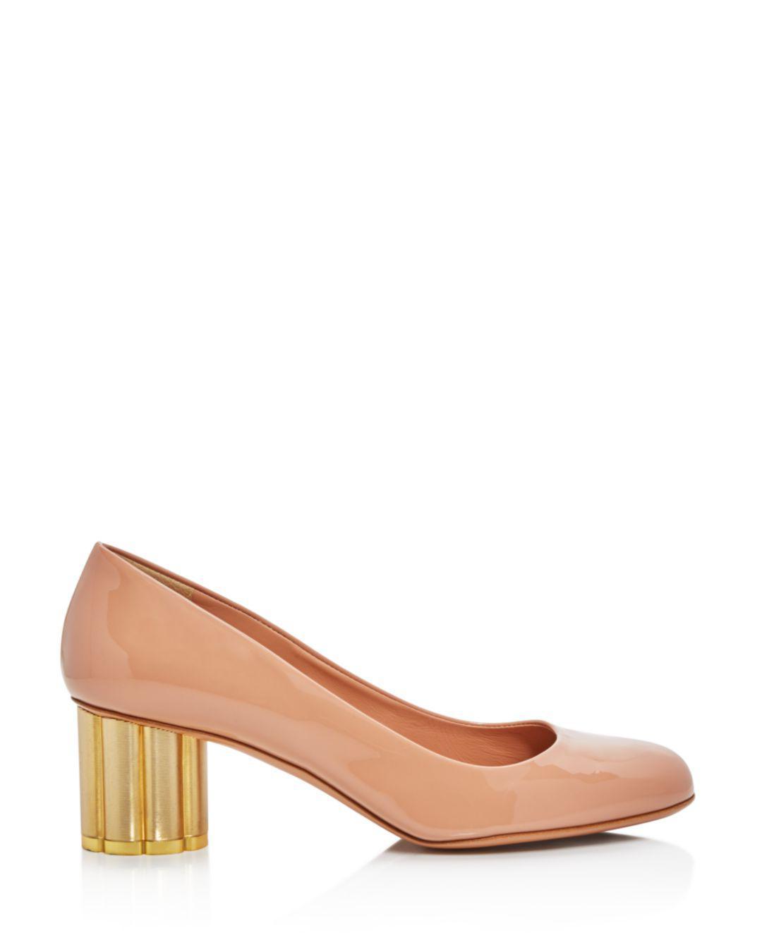 30c82b5006c2 Lyst - Ferragamo Lucca Flower-heel Patent-leather Pumps - Save 59%