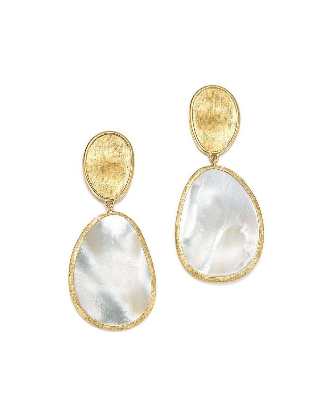 c566d19479b9 Marco Bicego. Women s Metallic 18k Yellow Gold Lunaria Mother Of Pearl Two Drop  Earrings