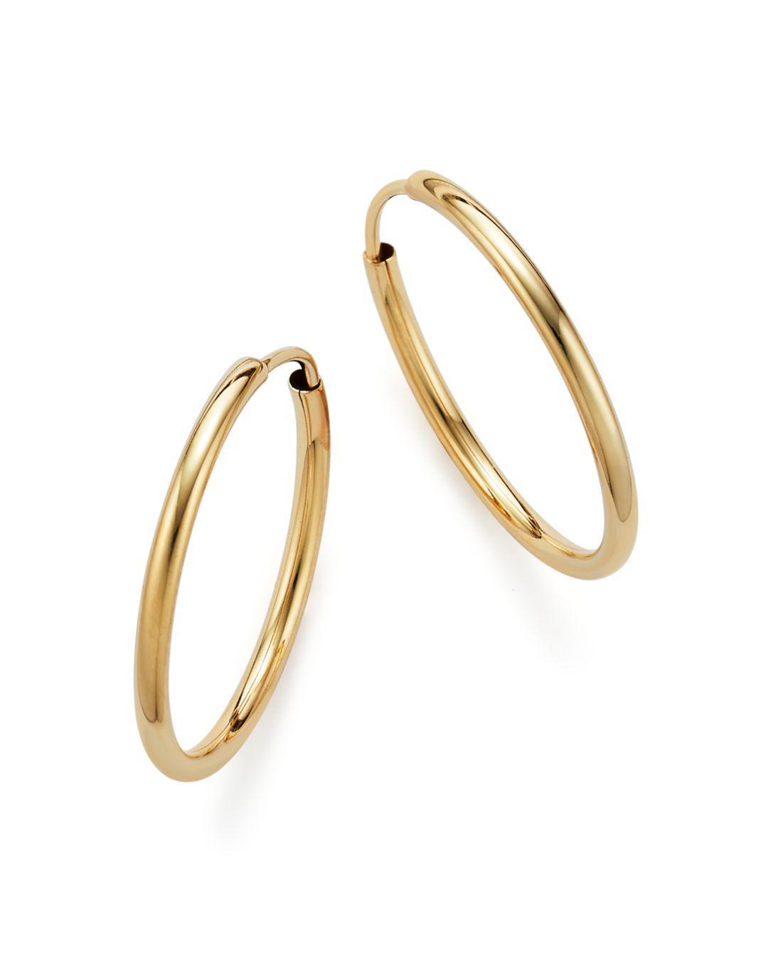 Bloomingdale S Metallic 14k Yellow Gold Endless Hoop Earrings Lyst View Fullscreen