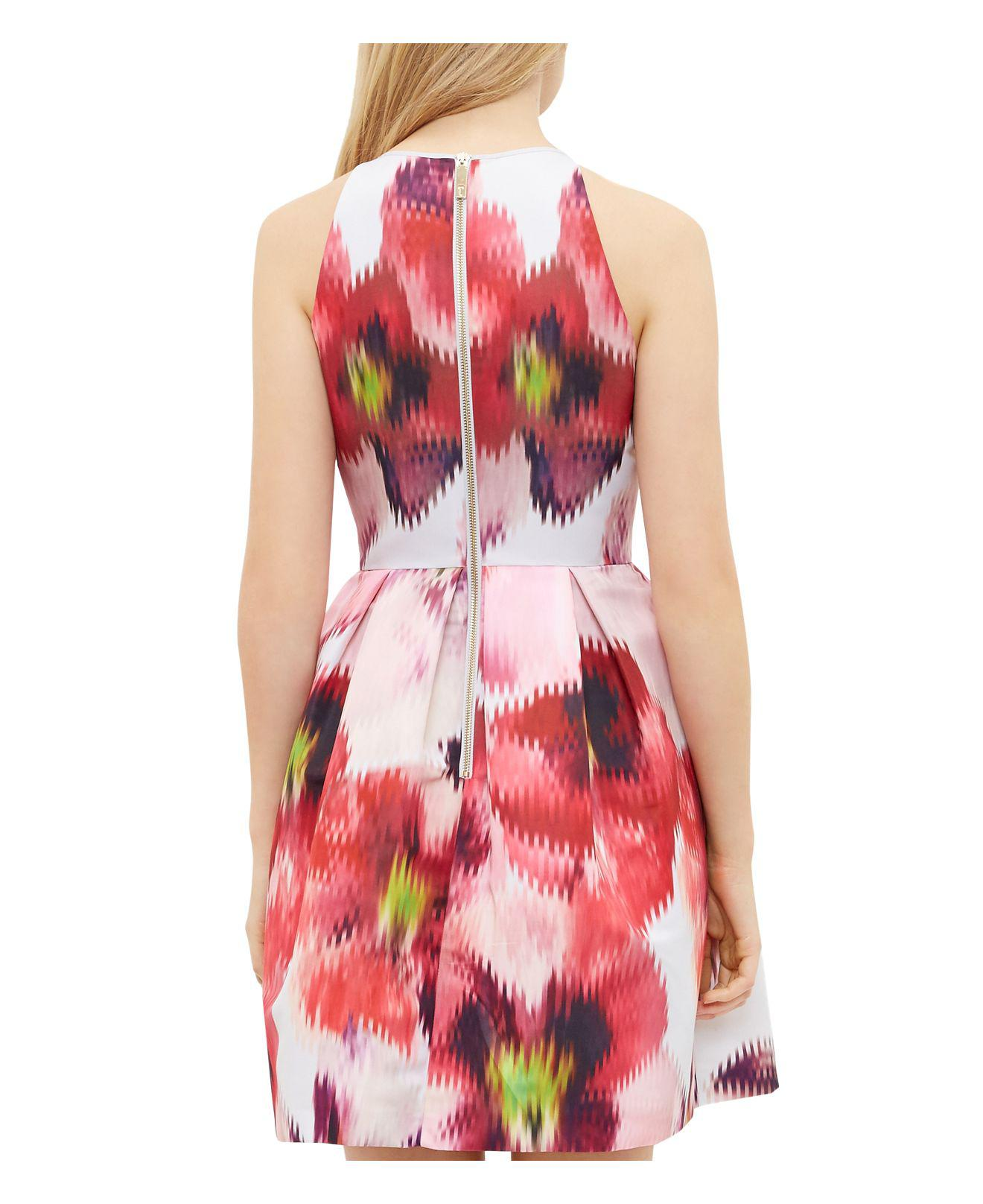 d8ac38166 Lyst - Ted Baker Cesilia Expressive Pansy Skater Dress in Gray