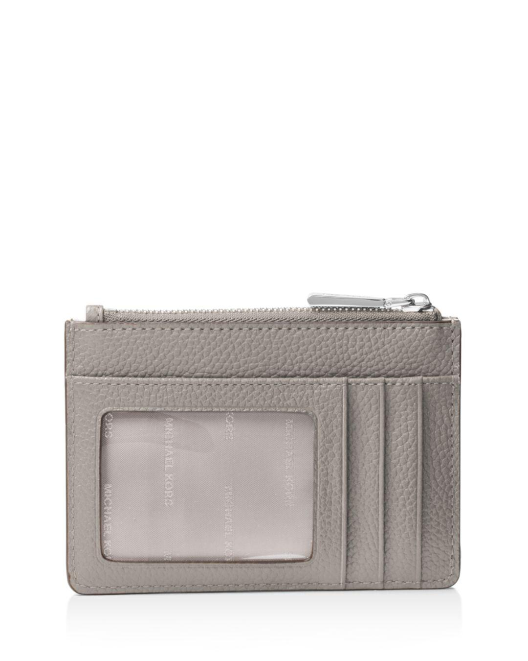 831677b133a3 Lyst - Michael Kors Michael Mercer Pebble Leather Coin Purse in Gray