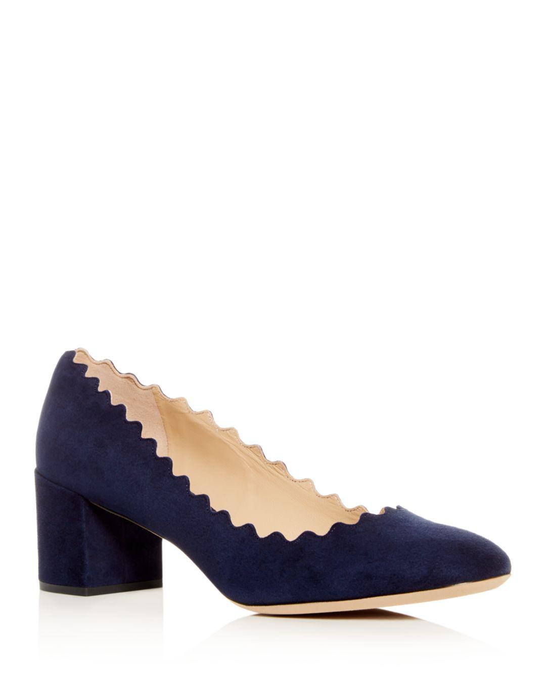 d5c7c8c28457 Lyst - Chloé Women s Lauren Scalloped Block-heel Pumps in Blue