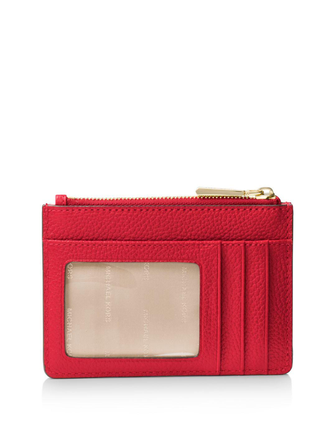 13b9fe17669b5 Michael Michael Kors Small Leather Wristlet in Red - Lyst
