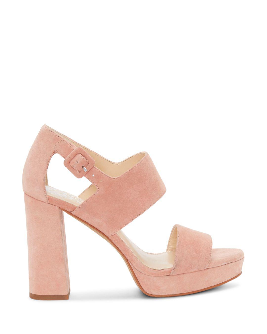 7d928e79d2e Lyst - Vince Camuto Women s Jayvid Suede Platform Sandals in Pink - Save 51%