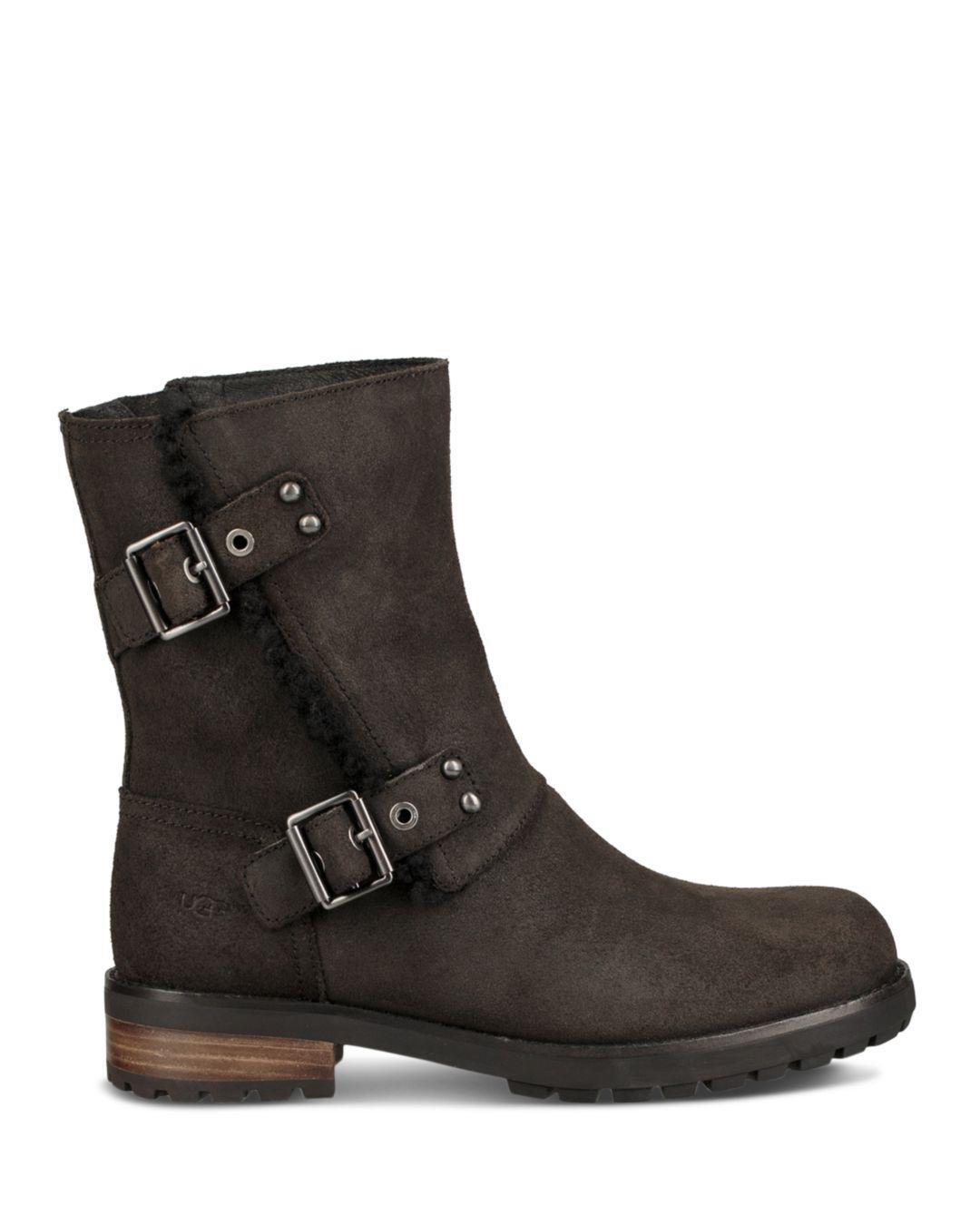5bcb5940173e Lyst - UGG Women s Niels Ii Round Toe Suede   Sheepskin Boots in Black