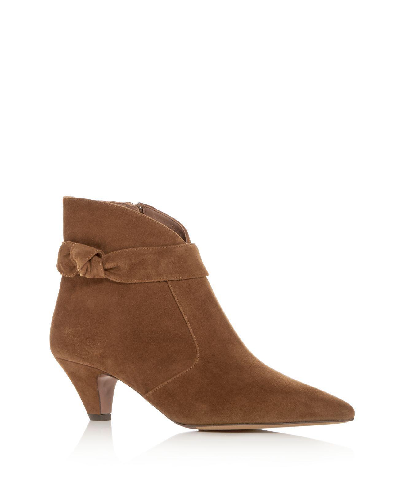 Tabitha Simmons Women's Nixie Leather Kitten Heel Pointed Toe Booties 25FbEGk