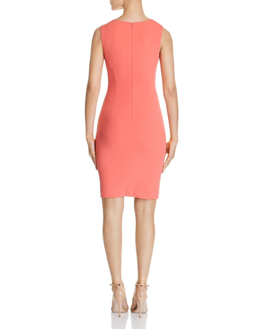 f295d3ed80d Lyst - Calvin Klein Embellished Sheath Dress in Pink