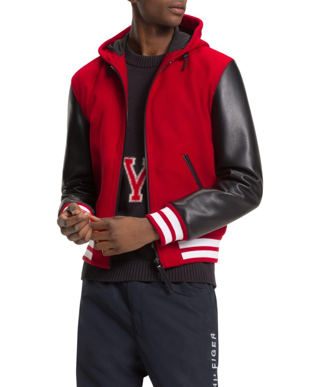 cd3c1870 Tommy Hilfiger Mixed - Media Hooded Varsity Jacket in Red for Men ...