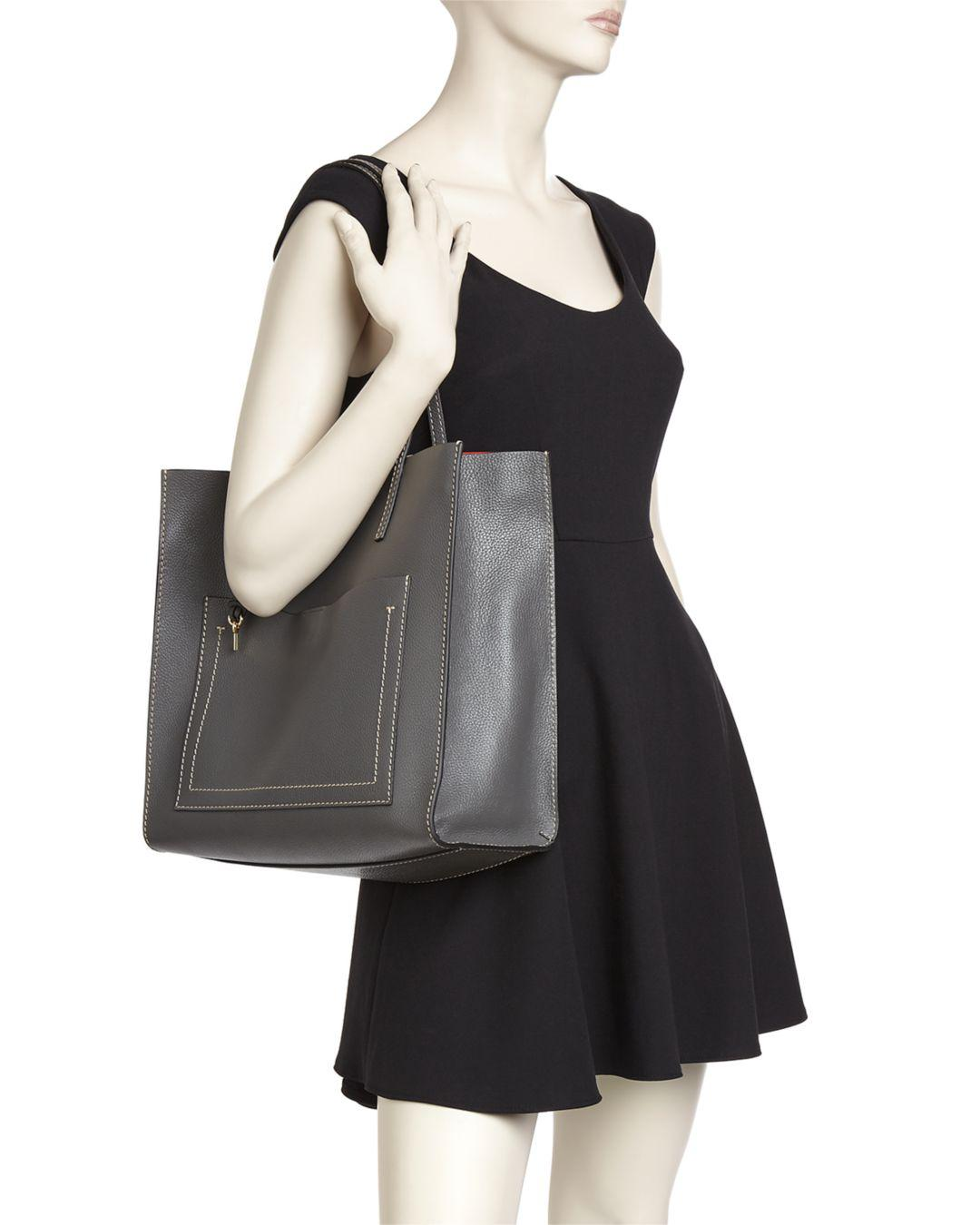 ffc0919853db Marc Jacobs Grind T-pocket Leather Tote in Black - Lyst