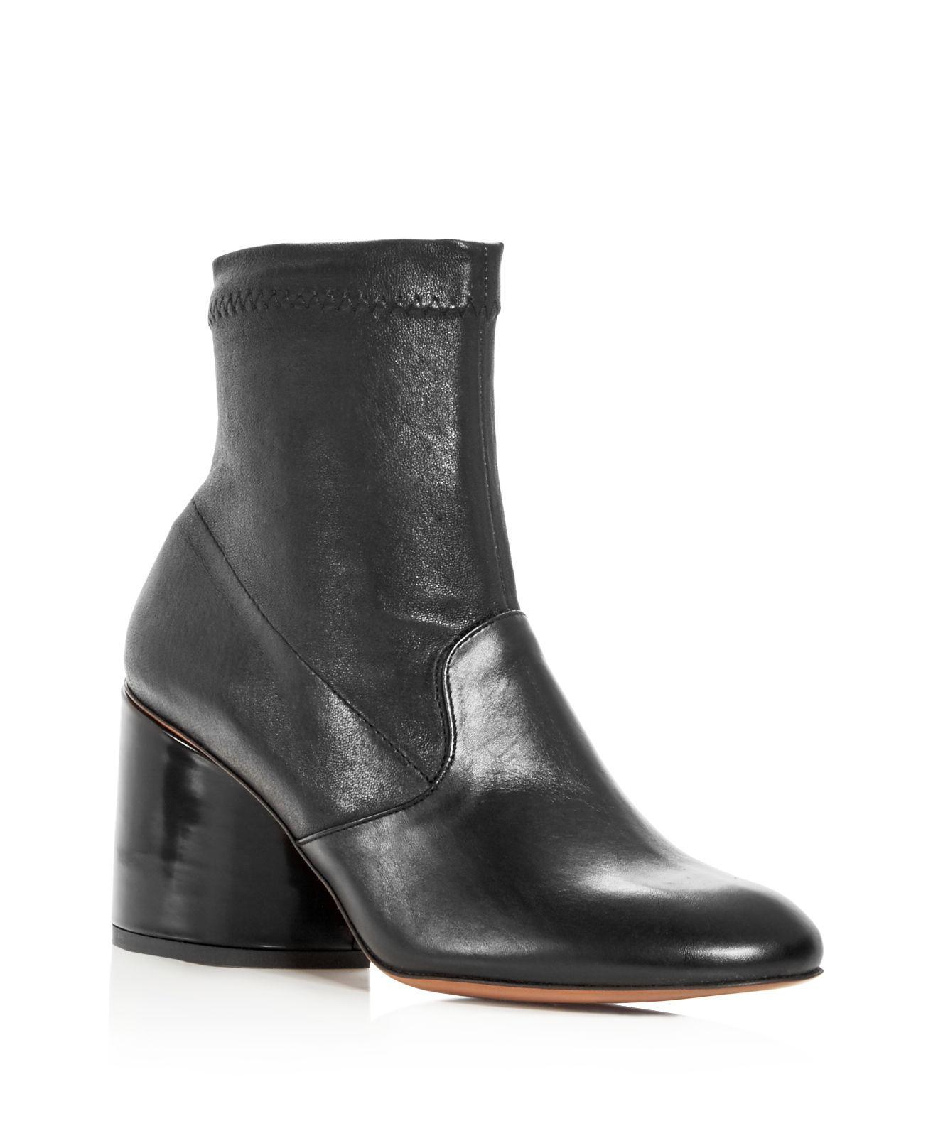 4fc35164a Lyst - Robert Clergerie Women's Koss Leather Block Heel Booties in Black