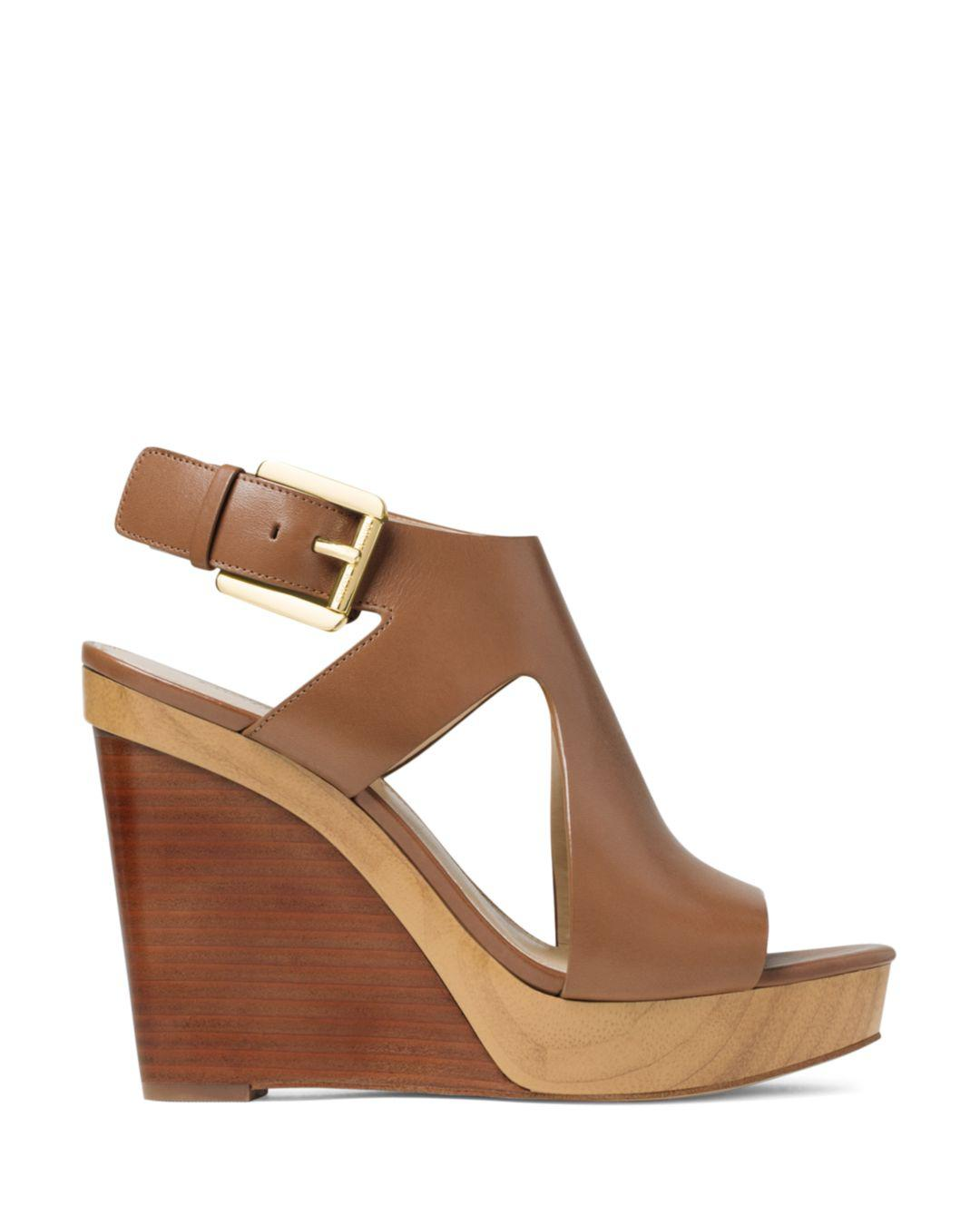 59f46be69e1 Lyst - Michael Michael Kors Women s Josephine Leather Platform Wedge Sandals  in Brown