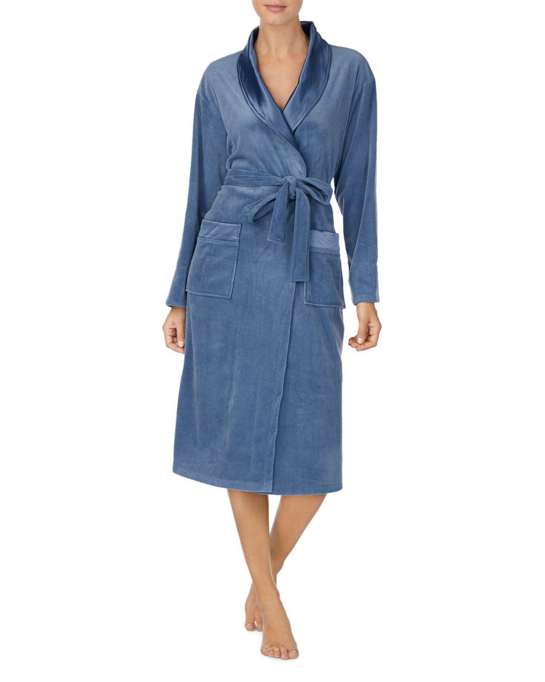 Lyst - Donna Karan Plush Long Robe in Blue 3b733f2a4