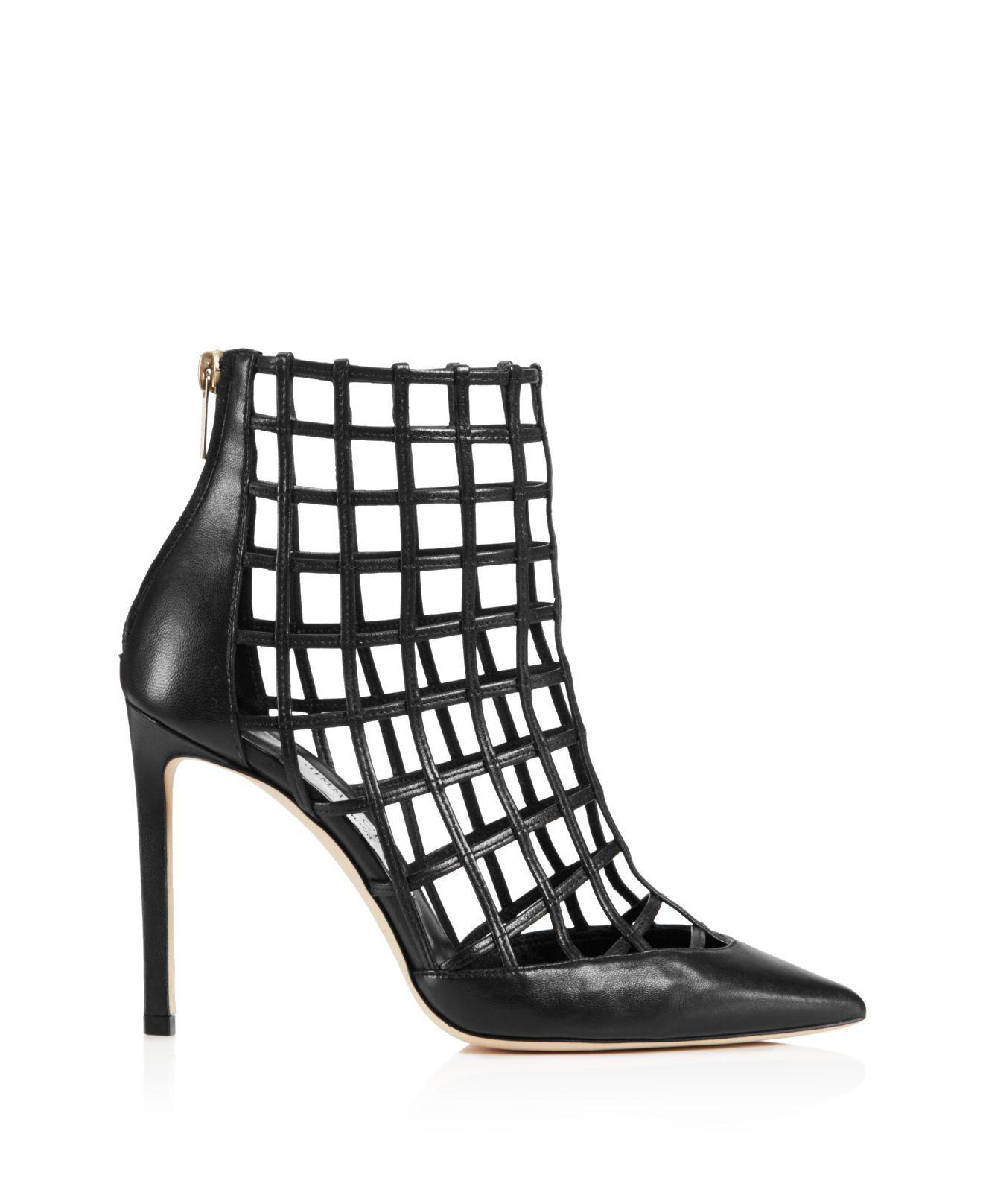 black Sheldon 100 caged leather boots Jimmy Choo London VSgjZs7