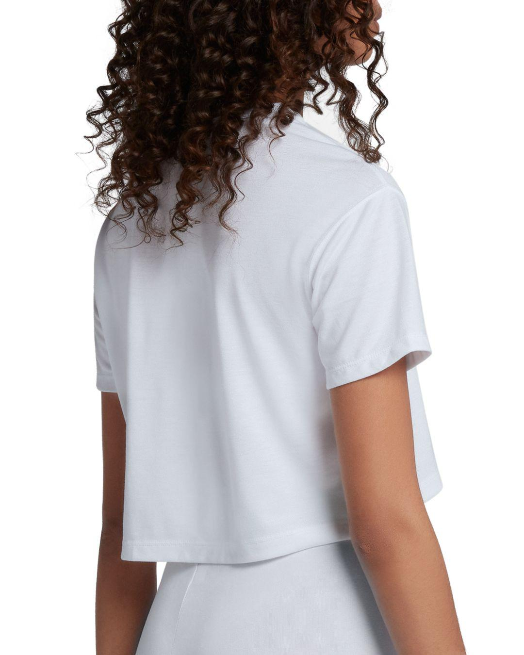 69110a78ac4 Lyst - Nike Essential Logo Cropped Tee in White - Save 50%