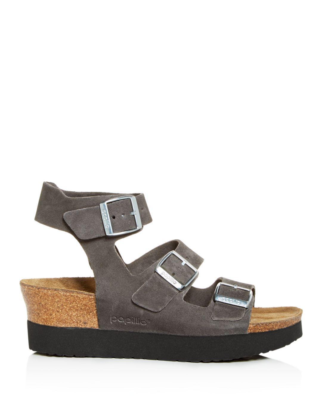 cbb130f6673f Lyst - Birkenstock Women s Linnea Papillio Platform Wedge Sandals in Gray