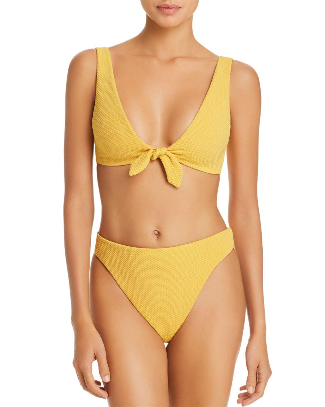 33deb156100a9 MINKPINK Alexa Tie - Front Bikini Top in Yellow - Lyst