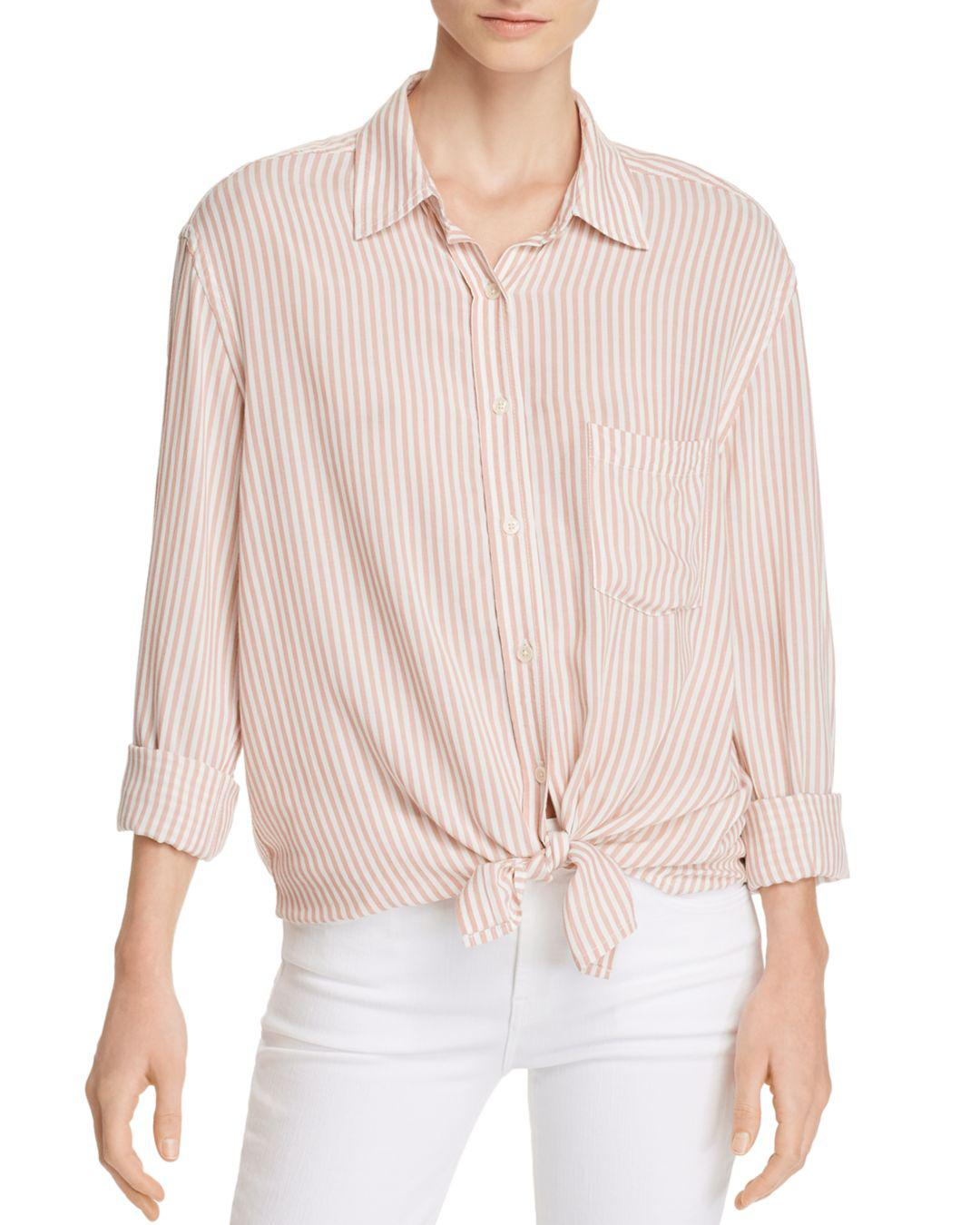 81c7c569ffe68a Lyst - 7 For All Mankind Striped High low Shirt in Pink