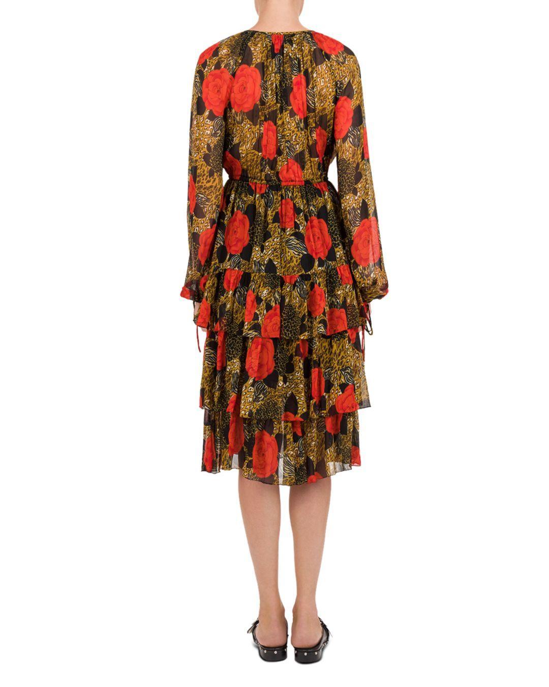 15a8df4db844 Lyst - The Kooples Jungle Flowers Printed Midi Dress in Red