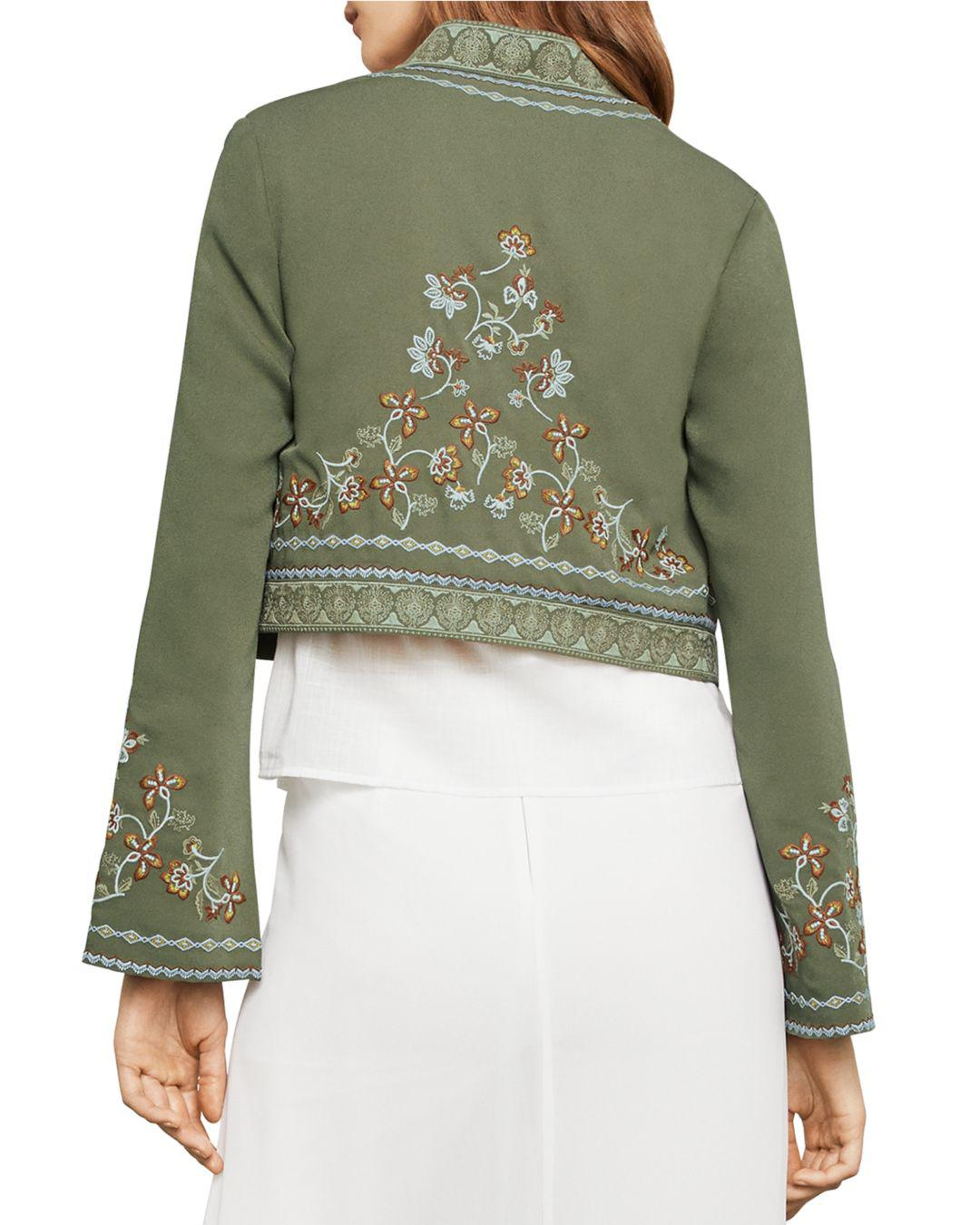 c18a3f0f5c BCBGMAXAZRIA Floral Embroidered Cropped Jacket in Green - Lyst
