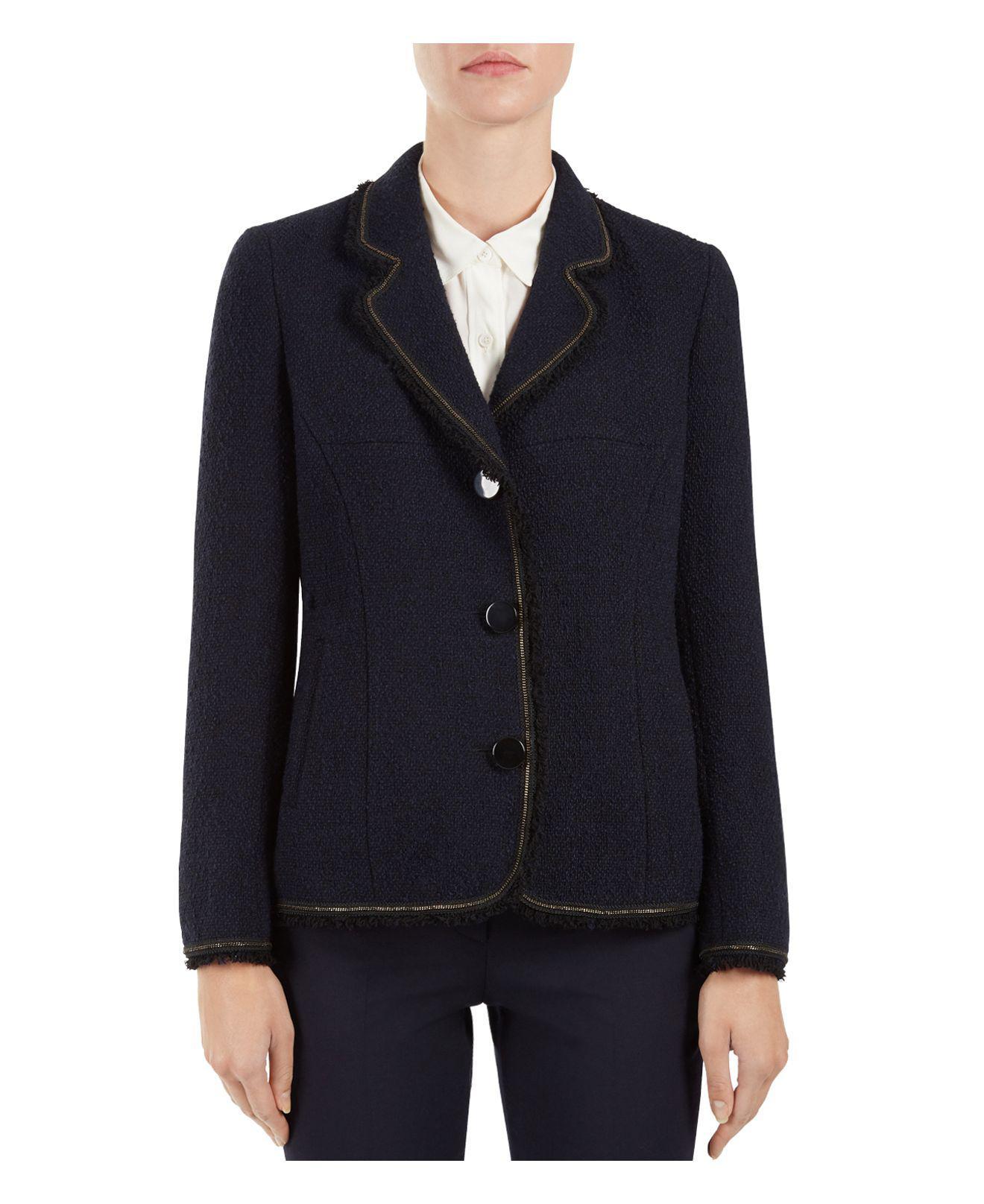 9acd7769a8468 Lyst - Gerard Darel Odelie Fringe-trimmed Bouclé Jacket in Blue