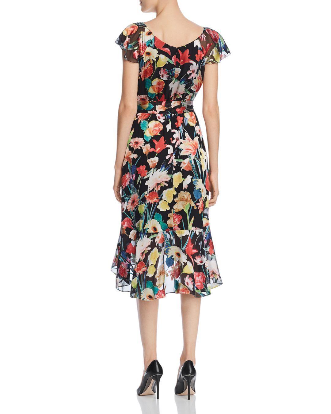 86411c63ed04 Elie Tahari Ryder Floral-print V-neck Cap-sleeve Dress in Black - Save 60%  - Lyst