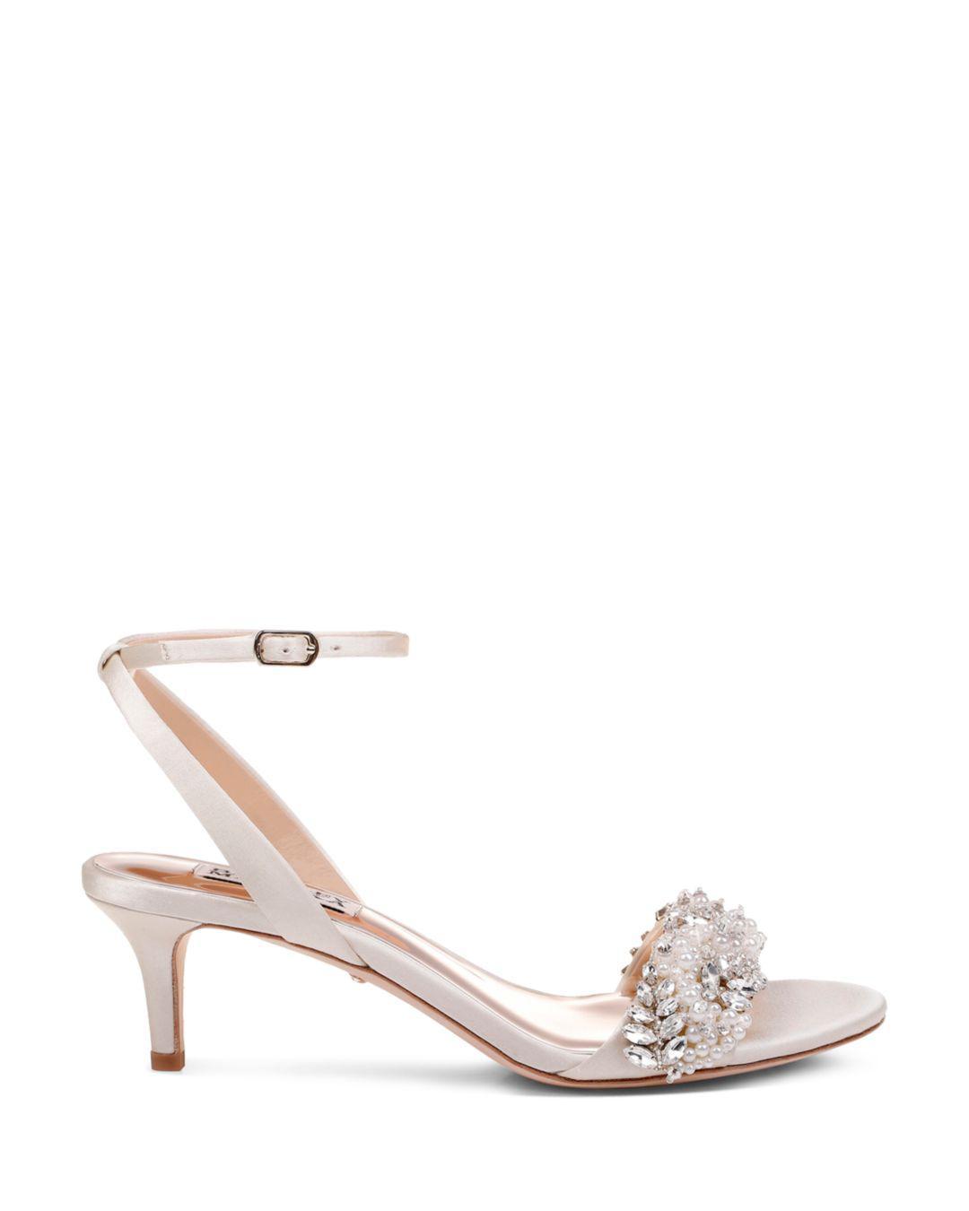 2da5ed52a Lyst - Badgley Mischka Women s Fiona Embellished Kitten Heel Sandals in  White